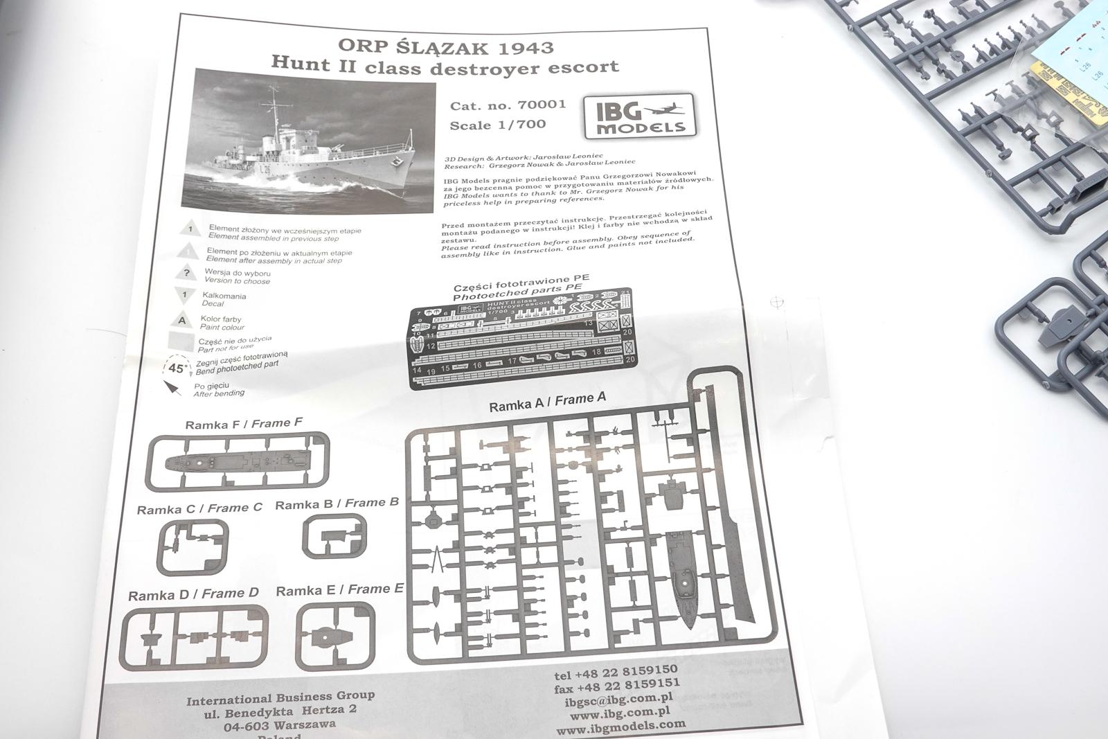 IBG 1/700 駆逐艦 スラザック プラモデル 説明書